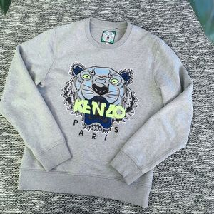 Kenzo Paris Tiger Embroidered Gray Sweatshirt M
